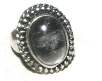 Sterling silver wide band crystal ring arkansas crystal size 8 3/4