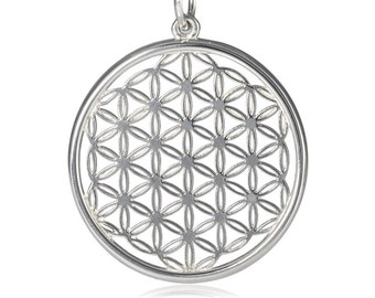 Flower of Life pendant silver, sacred geometry