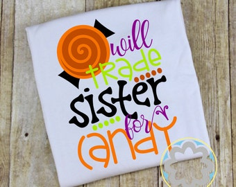 Halloween 'Will Trade Sister for Candy' Fall Personalized Shirt - Boy or Girl