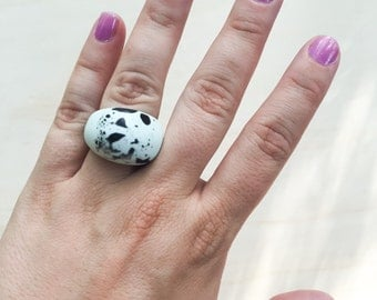 Round Resin Ring - Pastel Blue with Black Speckle