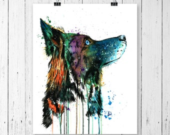 HUSKY PRINT, wolf art, husky art, wolf print, husky watercolour, wolf watercolour, husky painting, wolf painting, pet portrait, dog painting