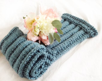 Hand knit drop-stitch scarf