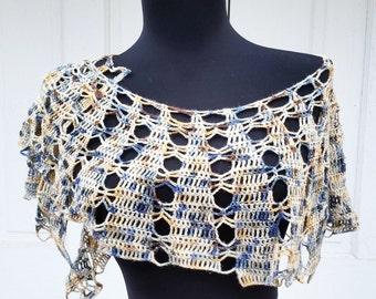 "Crochet Coffee Break Shawl Shades of Brown, Blue and Beige 2-10"" x 44"""