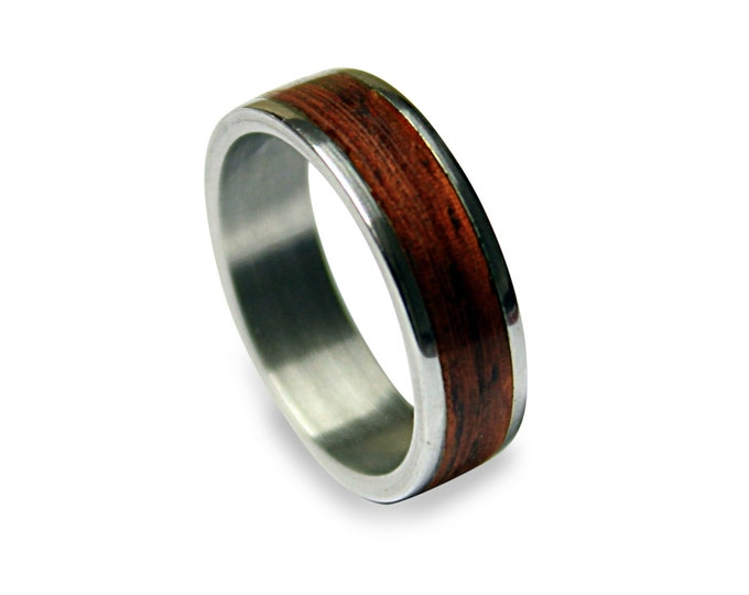 Titanium Ring With Wood Inlay, Wooden Ring On A Titanium Band