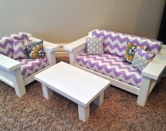 """American Girl Doll Furniture. 18"""" doll size 3 pc Living room set: Couch, Chair, Coffee Table. Purple/White Chevron"""
