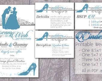 Superior Cinderella    DIGITAL PRODUCT / Printable Wedding Invitation / RSVP /  Detail Card / Thank