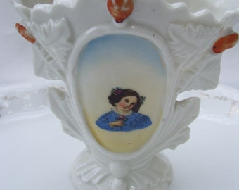 Vintage Small Vase with Women in Blue, White Porcelain