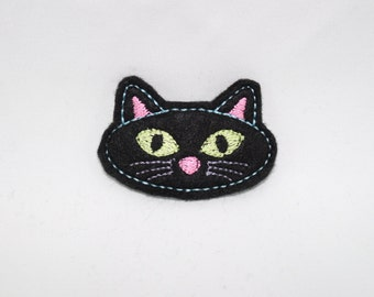 Black Cat Felt Snap Embroidered Hair Clips