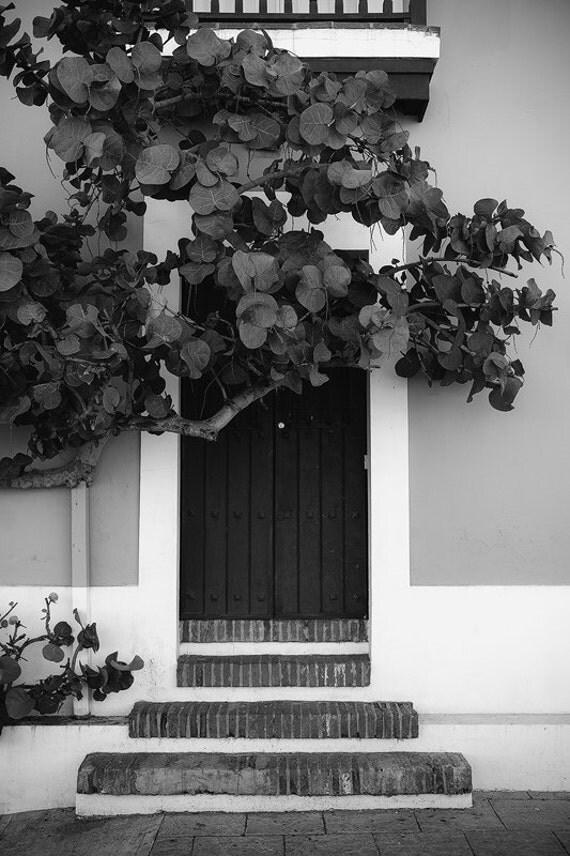 Old San Juan Wall Decor : San juan door old puerto rico black white steps