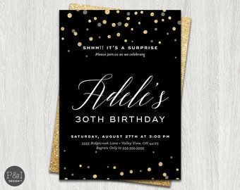 Surprise Birthday Party Invitation | Black and Gold Glitter | FOR ANY AGE | Customized Printable
