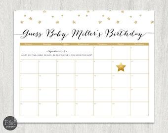 Baby Due Date Calendar | Gold Glitter Twinkle Twinkle Little Star | Baby Shower