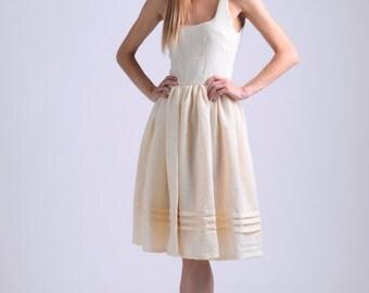 Vintage and hungarian folk inspired vanilla linen dress