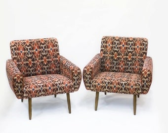 Pulau vintage ikat reupholstered chairs, scandinavian furniture