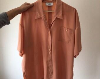 Vintage Peach Blouse - L