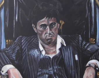 Scarface - Al Pacino -Original Acrylic portrait painting of this iconic scene
