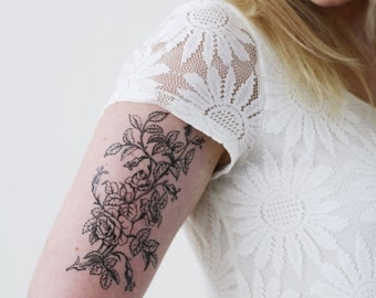 Large floral temporary tattoo / flower temporary tattoo / boho temporary tattoo / bohemian temporary tattoo / bohemian gift idea / boho gift