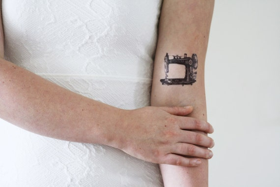Sewing machine temporary tattoo
