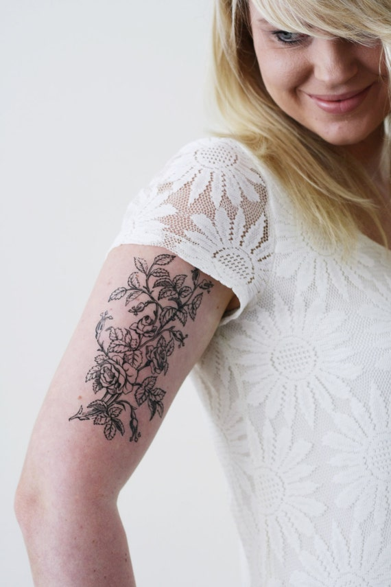 Large floral temporary tattoo flower temporary tattoo boho for Floral temporary tattoos