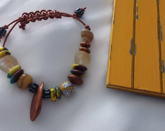 Trade Beads & Leather Cord Bracelet