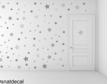 FREE SHIPPING Wall Decal  Different Size of 150 Stars &3 Shades of Color Gray. Home Decor.Nursery Wall Sticker. Diy