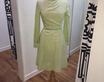 1960s Homemade Mint Green Cotton Bouquet Spotty Print Funnel Neck Dress
