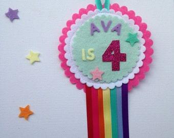 Felt rosette, fabric badge pin, badge, birthday pin, birthday fabric badge, happy birthday rosette