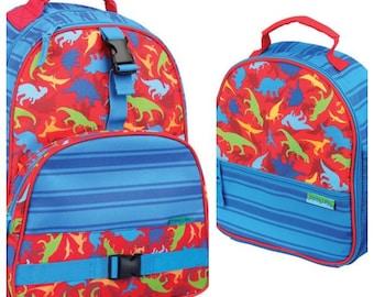 Stephen Joseph dinosaur backpack and lunchbox set, little boy backpack, matching backpack lunchbox