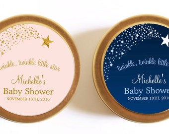 Personalised Baby Shower favours / bomboniere. Soy candle tins. Twinkle star design by Mahina