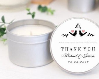 Personalised wedding favours / bomboniere. Soy candle tins. Modern Love birds design by Mahina
