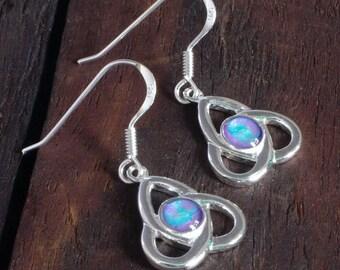 Silver Celtic Knot Earrings - Violet/Aqua Blue