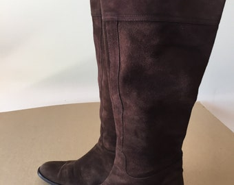 Vintage suede tall boot, brown, leather