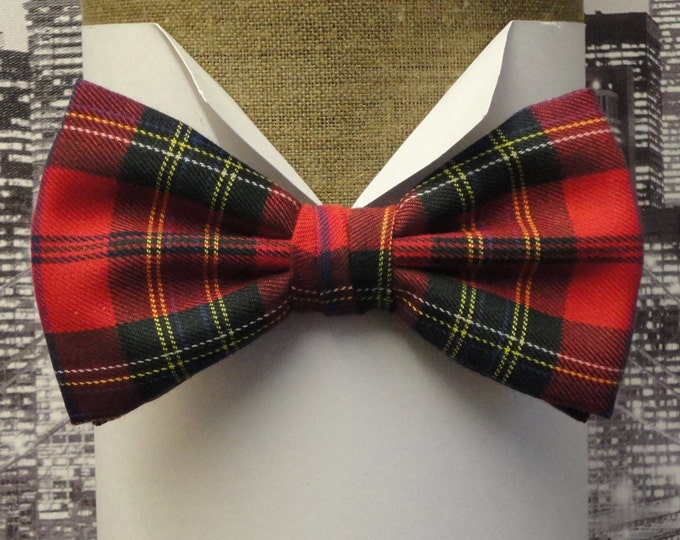 Featured listing image: Red tartan pre tied or sself tie bow tie, Burns night bow tie