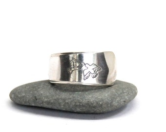 dove ring, spoon ring, peace ring,bird ring, love ring,  work ring,  narrow ring