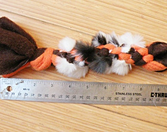 Braided Fleece Dog Toy Flirt Pole Attachment, with Optional Rabbit Fur