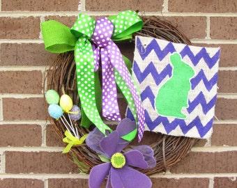 Easter Wreath, Easter Bunny Wreath, Easter Burlap Wreath, Easter Door Wreath, Bunny Wreath