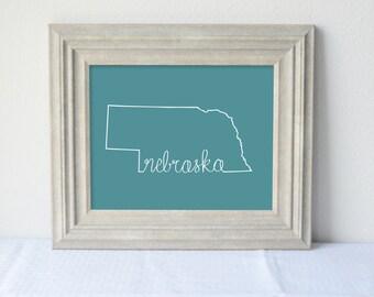 Printable Nebraska State Art Print 8x10 Digital Wall Art Gift