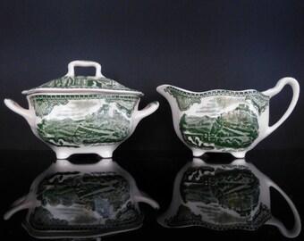 Green and White Sugar Bowl and Creamer Set, JOHNSON BROTHERS // Mid Century English Ironstone Transferware