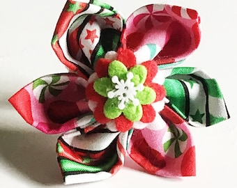 Red & Green Christmas Collar Flower for Girl Dogs and Cat