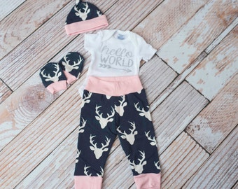 Newborn Coming Home Baby Deer Antlers/Horns Bodysuit, Hat, Scratch Mittens Set with Navy and Pink+ Glitter Hello World Bodysuit