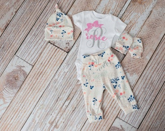 Newborn Coming Home Baby Flowers Personalized Bodysuit, Hat, Scratch Mittens, Pants Set+ Monogram/Personalized/Bow