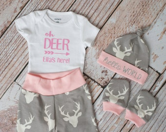 Baby Deer Antlers/Horns Bodysuit, Hat, Scratch Mittens Set with Grey and Pink+Personalized Oh Deer Bodysuit Newborn Coming Home