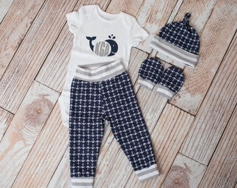 Personalized Nautical Anchors Summer Baby Pants, Hat, and Mitts Set with Whale and Initials Bodysuit in Grey Stripe Trim/Navy