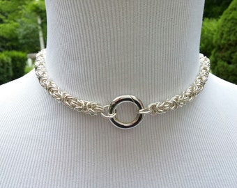925 Sterling Silver Discreet Submissive Symbolic O Day Collar, Byzantine Chainmaille BDSM Public Collar