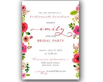 Floral Bridesmaids Luncheon Invitation