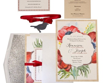 Watercolored Botanical Wedding Invitation Suite