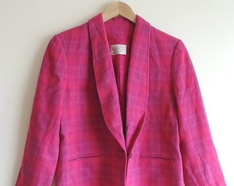 Vintage PENDLETON 100% Virgin Wool Hot Pink checkered blazer with button, lining and pockets, size 10 Petite, made in USA