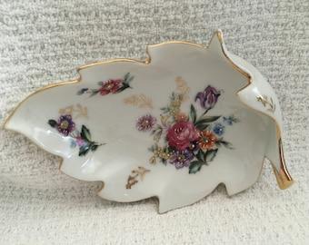 Floral Porcelain Leaf Dish, Leaf Candy Dish, Leaf Trinket Dish, Gold Trim, Waved Edge, 1970s, Floral Trinket Dish