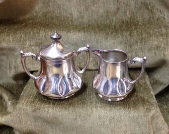 Silver Plate Sugar & Creamer,Columbian Quadruple Plate Silver Co., #8043, Quadruple Silver Plate, Silver Sugar, Silver Creamer