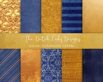 Digital Scrapbook Paper - Royal Blue & Gold - 10 .JPEG Files - INSTANT DOWNLOAD