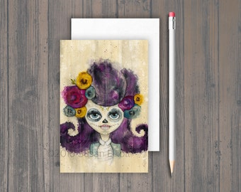 Dia de Los Muertos Party Girl Postcard